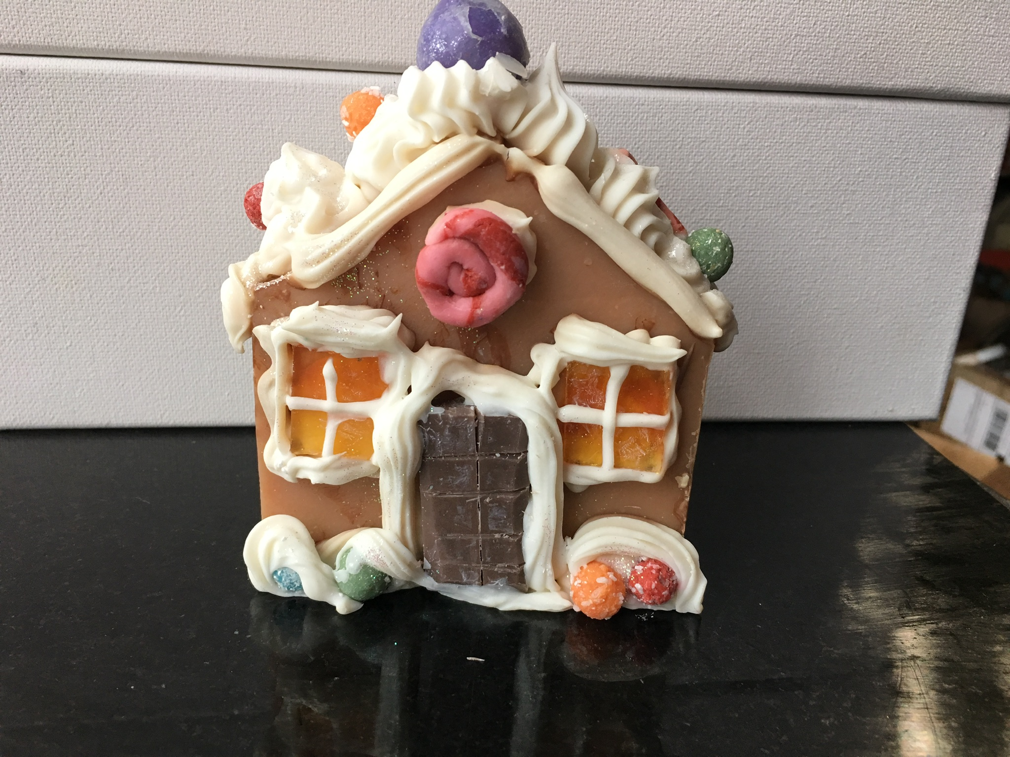Gingerbread house soap with piping and glycerine soap windows