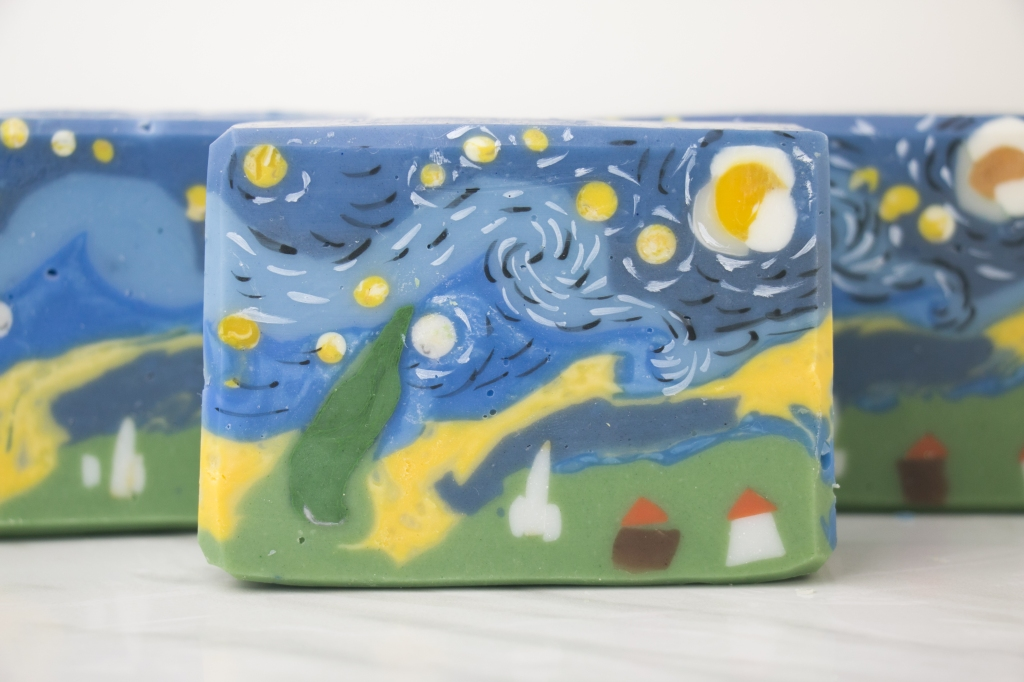 A starry night soap in a loaf mold